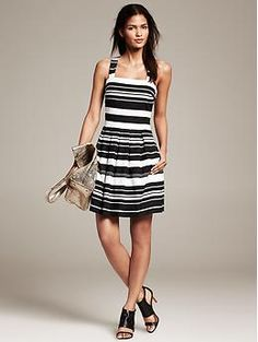 Multi-Stripe Pleated Fit-and-Flare Dress | Banana Republic - size 00P - $130