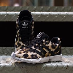 The Adidas ZX Flux sneakers with Cheetah Print for kids! | Available in youth sizes at DrJays.com