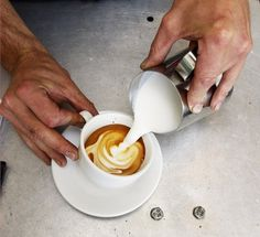 Man making an espresso latte. Coffee Lovers know there is nothing better than real cream in espresso. I Love Coffee, Coffee Break, My Coffee, Morning Coffee, Coffee Course, Coffee Milk, Coffee Signs, Coffee Creamer, Funny Coffee