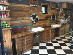 Barber shop with two spaces for haircuts.Everything is made of reclaimed wood. Barber Shop, Haircuts, Industrial, Spaces, Wood, Shopping, Woodwind Instrument, Timber Wood, Barbers