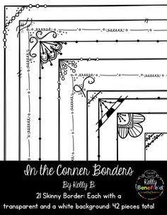Brand new thin borders with a design in one corner. Perfect for adding flair to… Drawing Borders, Doodle Borders, Zen Doodle Patterns, Doodle Designs, Planner Doodles, Sharpie Doodles, Botanical Line Drawing, Line Design, Design Art