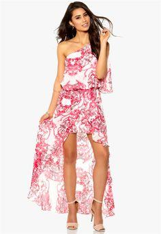 MAKE WAY, Devyn Dress. Pink Paisley Printed One Shoulder High and Low Dress.