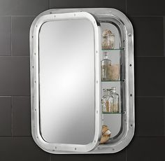 Submarine Inset Medicine Cabinet. really cool (and with practical storage!) for boys bathroom.