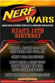 Nerf Birthday Invitation Printable Nerf War Birthday Invite