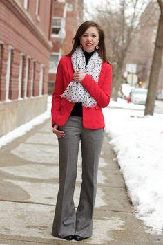 Polka Dot Scarf with Red Blazer
