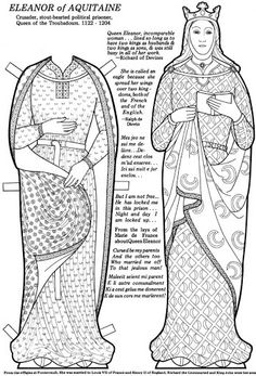 Great Women Coloring paper dolls - Maria Varga - Picasa Web Albums Eleanor of Aquitane Coloring Book Pages, Coloring Sheets, Adult Coloring, Eleanor Of Aquitaine, Mystery Of History, Vintage Paper Dolls, Great Women, Amazing Women, Women In History