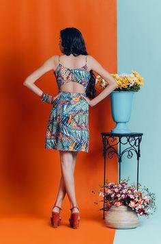 "Vestido curto estampado. Coleção ""Bella Vida"" Primavera Verão 2017 - Look Belle"
