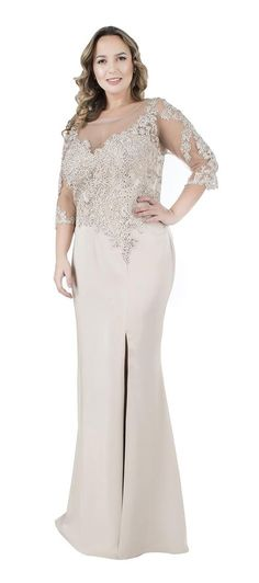 Sheath/Column Scoop Neck Floor-length Mother of the Bride Dress With Appliques Lace Beading Mother Of The Bride Dresses Long, Mothers Dresses, Vestidos Plus Size, Plus Size Dresses, Full Figure Outfits, Evening Dresses, Prom Dresses, Formal Dresses, Dress Brokat