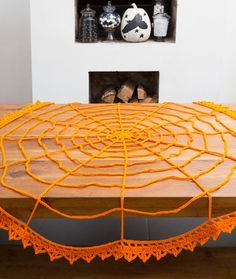 Spider Web Table Topper Free Crochet Pattern from Red Heart Yarns