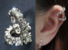 Round Stone Ring Ear Cuff (Single, No Piercing) | LilyFair Jewelry #lilyfairjewelry