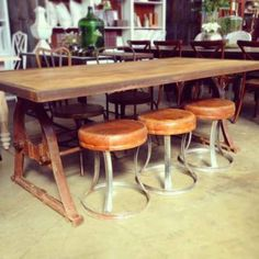 Industrial Protractor Dining Table Metal Wood Unique Cool Rustic Cafe in Alexandria, NSW | eBay