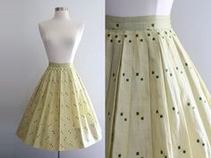 1950s Novelty Skirt / Vintage 50s Yellow by SavvySpinsterVintage, $62.00