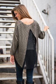 Accordion To Me Sweater, Black-Gray - The Mint Julep Boutique