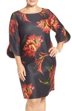 Gabby Skye Floral Print Shift Dress (Plus Size)