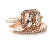 14K Rose Gold Morganite Wedding Set Engagement Ring & Wedding Band Princess Diamond Halo Morganite Ring Custom Bridal Jewelry