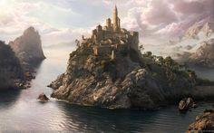 Island Castle fantasy scenery - Fantasy Wallpaper ID 1150197 - Desktop Nexus Abstract Fantasy City, 3d Fantasy, Fantasy Castle, Fantasy Places, Fantasy Setting, Medieval Fantasy, Fantasy Artwork, Fantasy World, Fantasy Island