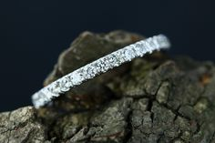 Sandy 14k White Gold Diamond Half Eternity Matching Band Promise Ring Wedding Band Anniversary Diamond Band (Bridal Wedding Set Available) by loveforeverjewelrysv on Etsy