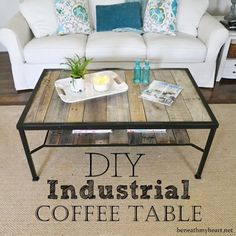 Found a coffee table at a thrift store that isn't quite your style? Give it a country feel by replacing the glass top with wooden boards.