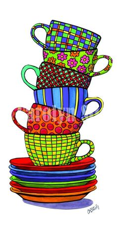 Stacked Cups - Whimsical Art by Carolyn Stitch Tee Kunst, Wal Art, Coffee Art, Coffee Cup Art, Coffee Shop, Kitchen Art, Kitchen Nook, Whimsical Art, Art Plastique