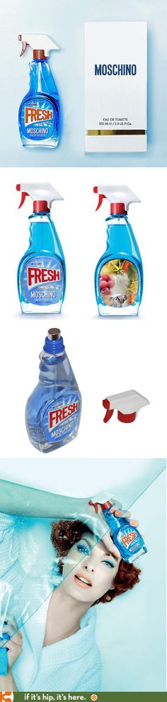 Moschino's newest fragrance, Fresh Couture, is packaged in a bottle made to look like Windex and advertised with Linda Evangelista photographed by Steven Meisel.