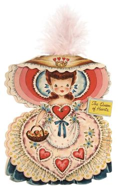 Vintage Queen of Hearts Paper Doll Hallmark Card @ Vintage Fangirl