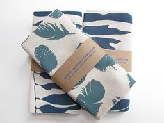 Printed tea towels, feathers+kelp, by Zanna textiles