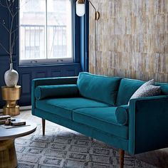 West Elm offers modern furniture and home decor featuring inspiring designs and colors. Create a stylish space with home accessories from West Elm. Teal Living Rooms, Living Room Sofa, Living Room Designs, Living Room Decor, West Elm, Sofa Inspiration, Living Room Inspiration, Teal Couch, Mid Century Sofa