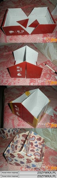 Use a shoe box to make a container with compartments