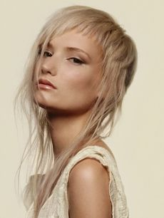 Long/Combination cut. platinum blond hair. fringe varies in precise lengths. hair gets a deep conditioning treatment. products; blond glam shampoo and conditioner, polish up, quick dry 18. rebook 4-6 weeks for an all over trim up on the cut and for a platinum color on the regrowth.