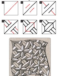 Online instructions for drawing CZT® Wayne Harlow's Zentangle® pattern: Crusade. Art Doodle, Tangle Doodle, Tangle Art, Zentangle Drawings, Doodles Zentangles, Doodle Drawings, Doodle Patterns, Zentangle Patterns, Zen Art