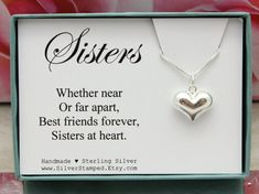 Sisters in Heart gift for Sister 925 Sterling by SilverStamped