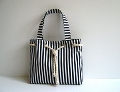 Sailor Tote Bag Navy Blue and White Stripe with Cotton Rope Accessory Christmas Market Tote Stripe Tote Bag White Shoulder Bag Navy Blue Nautical Tote Bags, Striped Tote Bags, Bag Patterns To Sew, Denim Bag Patterns, Fabric Bags, Market Bag, Handmade Bags, Bag Making, Purses And Handbags