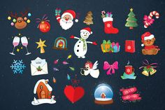 Christmas Sticker Set by lisamoon on @creativemarket