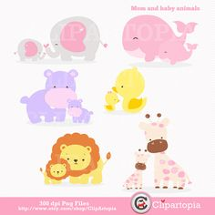 Mama e hijos animales digital clipart / elefante por ClipArtopia, $5,00