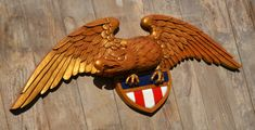Handcarved Patriotic Eagle with shield 42X15 by RUSHINGSERVICES, $900.00