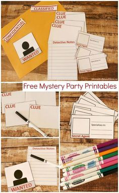 Planning a mystery or detective party? Here are some fun & free mystery party printables you can use for your planned activities. Geheimagenten Party, Clue Party, Party Time, Party Ideas, Game Ideas, Sofia Party, Mystery Dinner Party, Murder Mystery Parties, Spy Birthday Parties