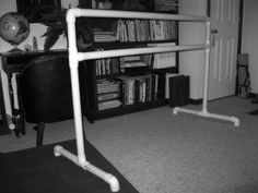 "how to build a barre at home - I will have to get this on the ""honey please do list""! BTW I did get my husband to do this and it was really easy and only cost about $30.00. It works great and I love how easily you can move it. Not as sturdy as the really expensive ones you can buy but it gets the job done for what I use it for."