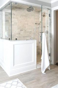 Awesome Master shower remodeling interior design tips,Small shower remodel cheap tips and Shower remodel with window small bathrooms ideas. Master Bathroom Shower, Upstairs Bathrooms, Wainscoting Bathroom, Bathroom Tile Showers, Master Bathrooms, Bathroom Mirrors, Bathroom Flooring, Rustic Master Bathroom, Wood Floor Bathroom