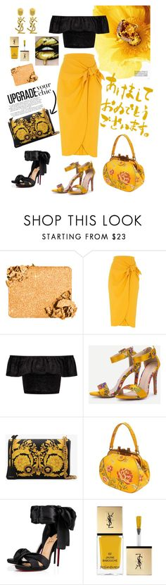 """""""A mustard skirt"""" by jtenorio ❤ liked on Polyvore featuring Rachel, River Island, Miss Selfridge, Versace, Christian Louboutin and Yves Saint Laurent"""