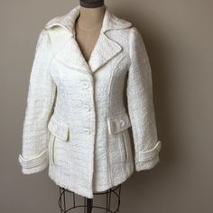 Forever 21 patterned knit jacket Super cute winter white heavy pattern textured jacket. 2 front button detail pockets. Fully lined 88% polypropylene 11% acrylic. Lining:  100% polyester Forever 21 Jackets & Coats