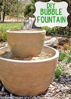 Everybody needs a water feature. DIY Bubble Fountain In A Pot - Make your own outdoor bubble fountain to add to your garden or patio. Backyard Projects, Outdoor Projects, Backyard Ideas, Diy Projects, Pond Ideas, Sloped Backyard, Outdoor Ideas, Landscaping Ideas, Garden Landscaping