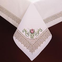 """Stamped White Tablecloth for Embroidery 58""""X104""""-Roses & Lace"""