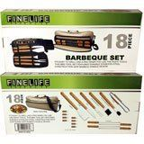 BBQ 18PC SET W/ CARRYING BAG by Rose's Gift Store. $34.95. SET INCLUDES: SPATULA, KNIFE, FORK, TONGS, GRILL CLEANING BRUSH, SILICONE BASTING BRUSH, 4 SKEWERS, 8 CORN COB HOLDERS, AND CARRYING BAG