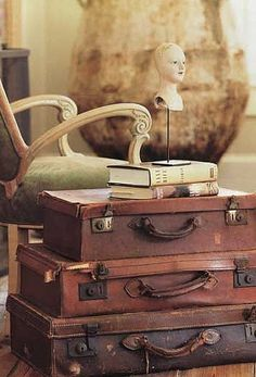 Just one of MANY ideas I love on this site for the use of vintage suitcases.  Maybe in my reading corner as a side table?