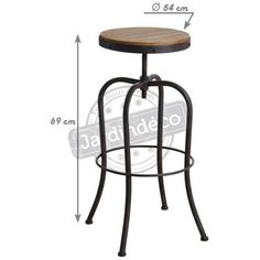 High swivel stool in metal and wood - stool Wood Stool, Metal Stool, High Stool, Wood Sizes, Furniture, Home Decor, Unique, Human Height, Decoration Home
