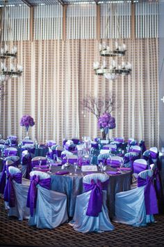 Purple Reception Decor | Ama Photography | TheKnot.com
