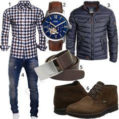 Roupa masculina, com camisa xadrez e jaqueta acolchoada - Männermode - Stylish Men, Men Casual, Casual Jackets For Men, Mode Man, Style Masculin, Herren Style, Herren Outfit, Mens Fashion Shoes, Men Style Tips