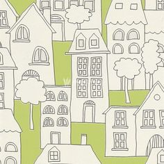 503456 - Kids & Teens II House Drawings White Green Black Galerie Wallpaper | eBay