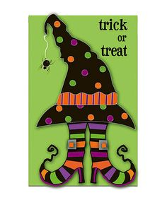 Take a look at this Trick or Treat Witch Feet Flag by Evergreen on #zulily today!