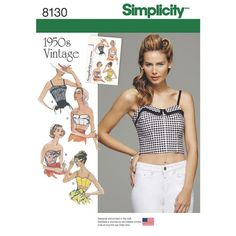Simplicity Pattern 8130 Misses' 1950s Vintage Tops and Cropped Tops you could attach a circle skirt or full skirt and get a nifty 50s dress will I get it? oh heck no. showas way to much skin